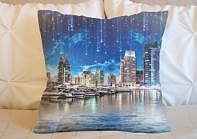 3D Подушка «Звездопад над ночным городом»