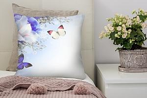 3D Подушка «Бабочки под нежными цветами»