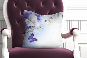 3D Подушка «Бабочки под нежными цветами» вид 5