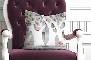 3D Подушка «Абстрактные белые деревья над водой»