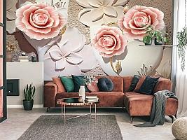 3D Фотообои  «Объемная композиция с бутонами роз»  вид 4