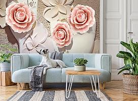 3D Фотообои  «Объемная композиция с бутонами роз»  вид 2
