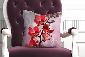 3D Подушка «Красная орхидея с кольцами»