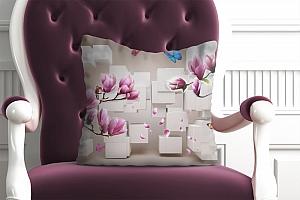 3D Подушка «Магнолии на объемном фоне»