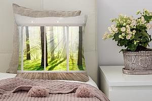 3D Подушка «Терраса в солнечном лесу»