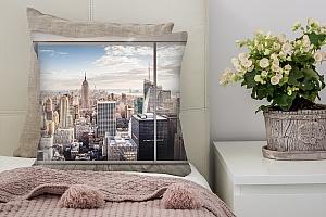 3D Подушка «Большое окно с видом на мегаполис»