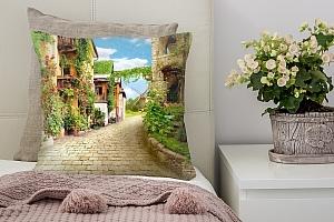 3D Подушка «Зеленая улочка»