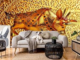 3D Фотообои  «Декорация с золотым быком в испанском стиле»  вид 5