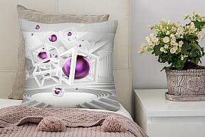 3D Подушка «Абстракция с фиолетовыми шарами»