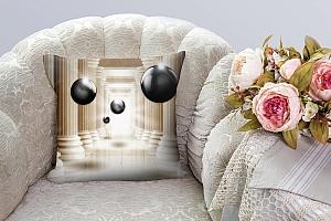 3D Подушка «Черный жемчуг среди античных колонн» вид 3