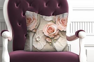 3D Подушка «Барельефная композиция с розами»