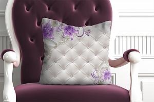 3D Подушка «Сиреневые лилии на стеганой коже»