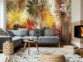 3D Фотообои  «Рельефная инсталляция с листьями пальмы» вид 6