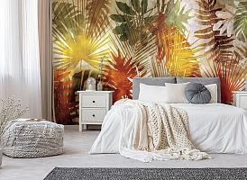3D Фотообои  «Рельефная инсталляция с листьями пальмы» вид 5