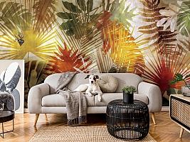 3D Фотообои  «Рельефная инсталляция с листьями пальмы» вид 4