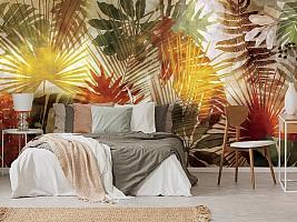 3D Фотообои  «Рельефная инсталляция с листьями пальмы» вид 3