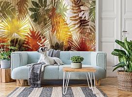 3D Фотообои  «Рельефная инсталляция с листьями пальмы» вид 2