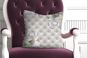 3D Подушка «Белые лилии на роскошной коже»