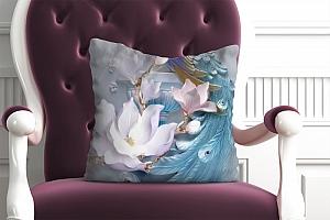3D Подушка «Голубой павлин»