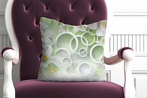 3D Подушка «Белые лилии на салатовом фоне»