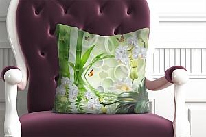 3D Подушка «Орхидеи на салатовом фоне в стиле спа»