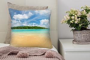 3D Подушка «Зеленый остров в океане»