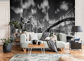 3D Фотообои  «Черно-белая инсталляция с небоскребами»  вид 3