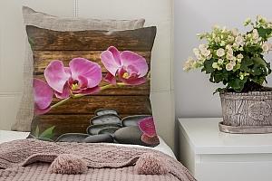 3D Подушка «Розовые орхидеи на камнях»