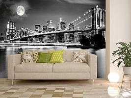 3D Фотообои  «Черно-белая инсталляция с полной луной над Бруклинским мостом»  вид 11