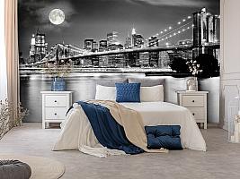 3D Фотообои  «Черно-белая инсталляция с полной луной над Бруклинским мостом»  вид 8