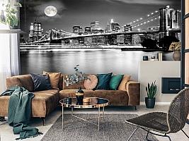 3D Фотообои  «Черно-белая инсталляция с полной луной над Бруклинским мостом»  вид 7
