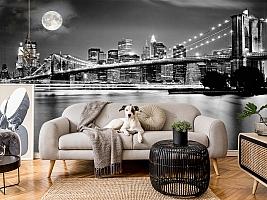 3D Фотообои  «Черно-белая инсталляция с полной луной над Бруклинским мостом»  вид 4
