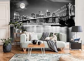 3D Фотообои  «Черно-белая инсталляция с полной луной над Бруклинским мостом»  вид 3