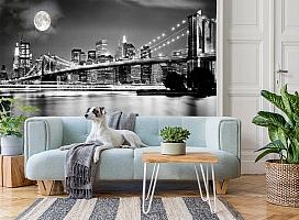 3D Фотообои  «Черно-белая инсталляция с полной луной над Бруклинским мостом»  вид 2