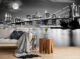 3D Фотообои  «Черно-белая инсталляция с полной луной над Бруклинским мостом»
