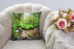 3D Подушка «Солнечный день в зеленом лесу» вид 3