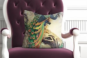 3D Подушка «Павлины на ветке»