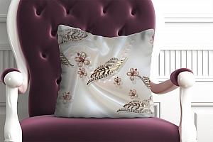 3D Подушка «Ювелирные цветы на шелке»