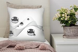 3D Подушка «Волны из линий с шарами»