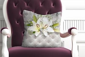 3D Подушка «Лилии с бабочками на роскошной коже»
