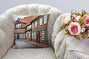 3D Подушка «Между кирпичными домами» вид 3