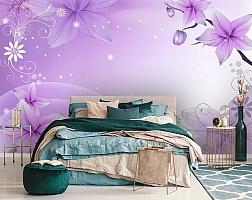 3D Фотообои  «Фиолетовая цветочная фантазия»  вид 6