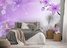 3D Фотообои  «Фиолетовая цветочная фантазия»  вид 5