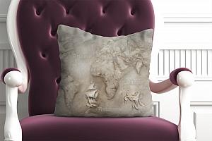 3D Подушка «Барельеф карта мира»