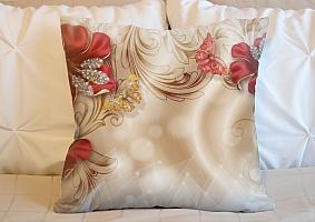 3D Подушка «Алые лилии с драгоценными бабочками» вид 3