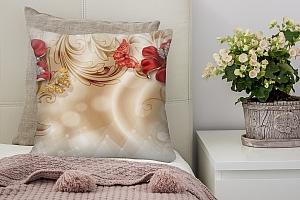 3D Подушка «Алые лилии с драгоценными бабочками» вид 4