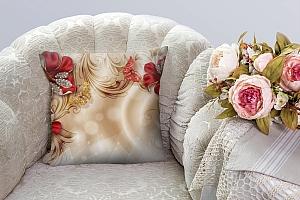 3D Подушка «Алые лилии с драгоценными бабочками» вид 5