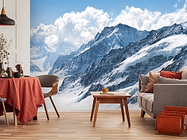 3D Фотообои  «Пейзаж в заснеженных горах»  вид 5