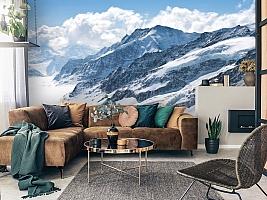 3D Фотообои  «Пейзаж в заснеженных горах»  вид 3