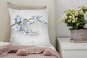 3D Подушка «Голубая сакура»